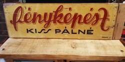 Régi kézzel festett fényképész fa tábla loft,vintage,dekor