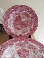 Staffordshire pink angol mély-leveses tányérok 6 db