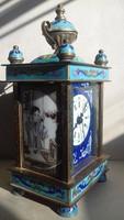 Antik Cloisonné-zománcos mechanikus óra 9,5x20cm