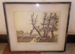 Üvegezett fekete színű fa képkeret 45*38,5 cm