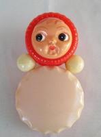 Retro trafikáru műanyag játék baba csörgő