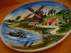 Majolika holland tájképes jelzett fali dísztányér