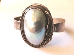 Meseszép antik ezüst karkötő gyöngyház berakással