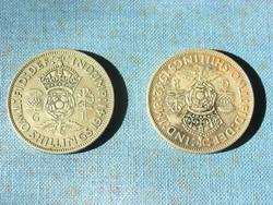 NAGY-BRITANNIA  2 SHILLING (1 FLORIN) EZÜST  2 DB !!!   1941,1942