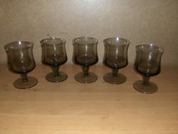 Retro füstszínű üveg talpas pohár készlet 5 db (9/K)