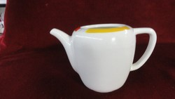 Gránit  kispesti magyar porcelán antik teáskanna, piros/sárga/kék csíkkal. mag 13.5  átm 13 cm