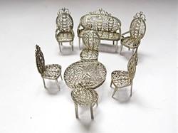 8 darabos filigrán ezüst miniatűr bútor garnitúra!