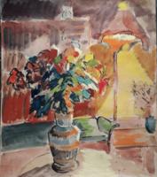 Szekfű János 1969-es festménye, hátán vázlattal