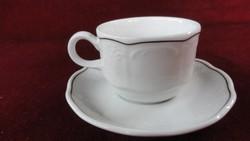 LILIEN porcelán Ausztria, kávéscsésze + alátét, nyomott mintás, barna csíkkal.