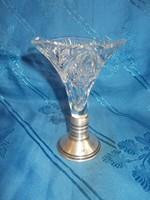 Régi ezüst talpas üveg váza