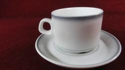 LILIEN porcelán Ausztria, kávéscsésze + alátét, szürke szegéllyel.