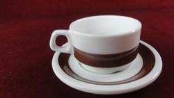 LILIEN porcelán Ausztria, kávéscsésze + alátét. Hófehér alapon kávébarna csíkkal.