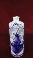 LILIEN porcelán Ausztria pálinkás palack. Kobalt kék, holland tájképpel és virág motívummal