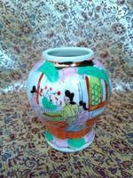 Régi, kézzel festett, kínai family rose stílusú porcelán váza