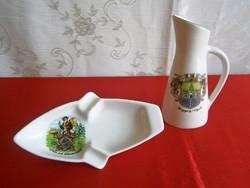 Bavaria porcelán füles váza és hamutál, hamutartó város képpel