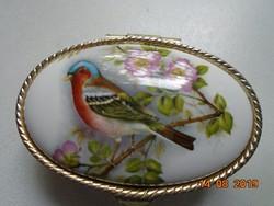 Ezüstözött cizellált fém szelence színes madár virág mintás porcelán betéttel