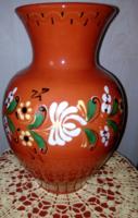 Régi mázas nagyméretű festett kerámia váza