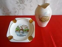 Bavaria aranyozott porcelán váza és hamutál, hamutartó város képpel