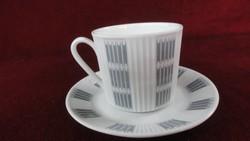 LILIEN porcelán Ausztria teáscsésze + alátét, szürke mintázattal. Magassága 7 cm.