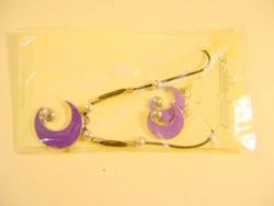 Nyaklánc és fülbevaló szett hold alakú lila régi