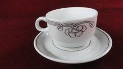 LILIEN porcelán Ausztria, kávéscsésze + alátét. Barna csíkkal, barna motívummal.
