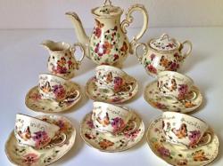 Zsolnay pillangó mintás készlet ritka régi porcelán