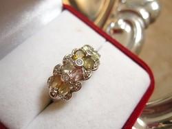 Varázslatos turmalin köves sterling ezüst gyűrű, rózsaszín, halvány- és mézsárga