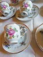 Hollóházi porcelán kávés csésze + alátét tányér, hibátlan