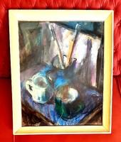 Félegyházi László (1907-1986) - Csendélet a festőasztalon 1965. Képcsarnokos.