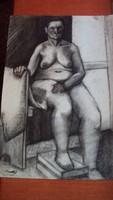 Kmetty János : Ülő női akt. (grafikai tanulmányrajz)