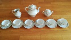Royal Austria O. & E.G. teljes 6 személyes porcelán teáskészet, cukortartó, teáskanna, kiskancsó