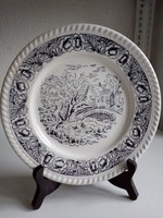 Angol porcelán lapos tányér tájképpel-hidal-virágos dombor peremmel-24,2 cm