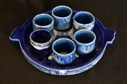 Bodrogkeresztúri kék mázas kerámia pálinkás - röviditalos - készlet