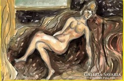 Lehoczky József:  Női akt - tusrajz, akvarellel színezve, papíron  /17,5 x 25 cm/ Keret nélkül
