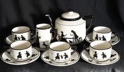 Antik Elmshorn porcelán teáskészlet - ritka gyűjtői darabok