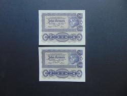 2 darab 10 korona 1922 Sorszámkövető Szép bankjegyek !