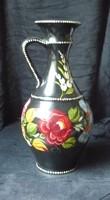 Kézzel festett kalocsai váza, bokály  30 cm