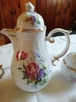 Hollóházi porcelán barokk füles kávés kancsó, hibátlan, vitrin állapot