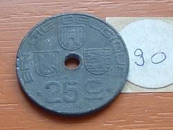 BELGIUM BELGIE - BELGIQUE 25 CENTIMES 1946 WW II CINK 90.