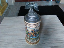 Antik Német kerámia fedeles sörös korsó