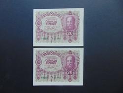 2 darab 20 korona 1922 Sorszámkövető Szép bankjegyek !