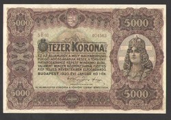 5000 korona 1920. VF+++ !! BARNA SORSZÁMOS!! GYÖNYÖRŰ!!