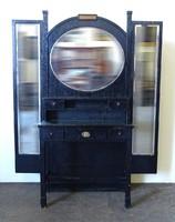 0X932 Régi fekete tükrös fésülködő pipere asztal
