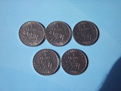 Francia 1 Franc érmék