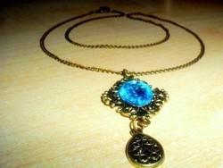 Díszes Kék Kristály kézműves Nyaklánc
