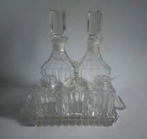 Asztali art-deco fűszer és olajtartó csiszolt kristályüveg-szett tálcával