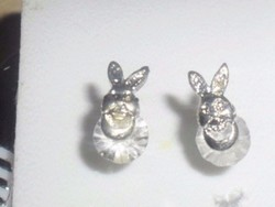 Nyuszi Hegyikristály 3D-s Ezüst fülbevaló