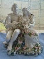 Német rokoko porcelán páros figura