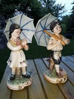 Capodimonte  porcelán  szobrok  párban