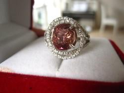 Rózsaszín turmalin köves sterling ezüst gyűrű - szikrázó a kő!